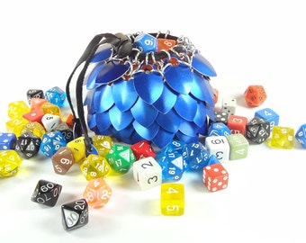 Dice Bag Dungeons And Dragons Large Blue Scalemaille And Chainmaille Aluminum - SKDB-SC-L-BL