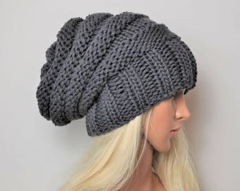 Grey Womans beanie,  Grey Merino slouchy beanie, hand knit hat, chunky knit slouch hat. Wool hat, slouchy beanie, Wool hat, gift for her