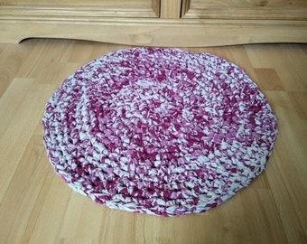 Handmade Crocheted Round Rag Rug, Eco Friendly, Upcycled, Eco Rug.