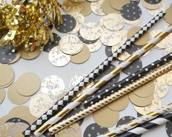 Black and Gold Circle Confetti, Wedding Confetti, Party Decorations, Bridal Party Decor, Wedding Decor, Bachelorette Party Confetti