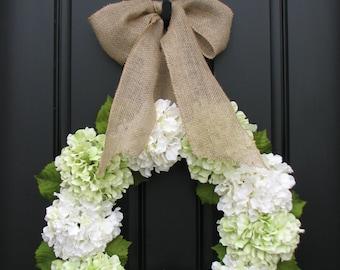 Hydrangea Wreaths, Wreath, Green Hydrangeas, Summer Hydrangeas, Cream Ribbon Bows, Seasonal Hydrangeas, Front Door Wreaths