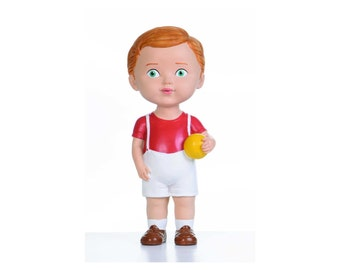 Brown Hair Boy with Ball Inspired by Vintage Style Doll Collectible Home Decor