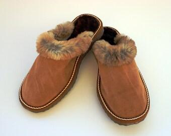 Women Slippers, Brown Fur Slippers, Womens Slippers, Handmade Slippers, Leather Slippers, House Slippers, Sheepskin Slippers, Warm Slippers
