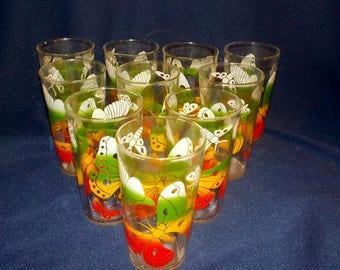 Set of Ten Vintage Butterfly Design Tumblers, 10 ounce Capacity