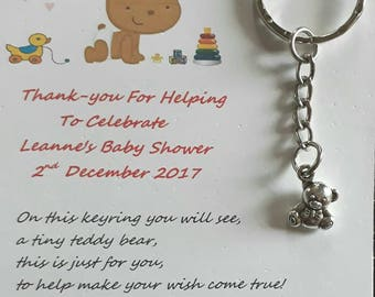 Baby Shower Keyrings ~ Pink blue or yellow personalised baby shower keyrings