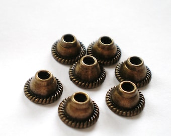 30 bronze metal bead caps jewelry supply Y4