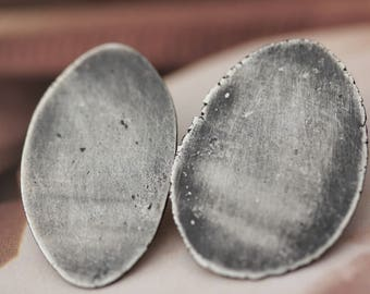 Oxidized Recycled Sterling Silver Post Earrings II