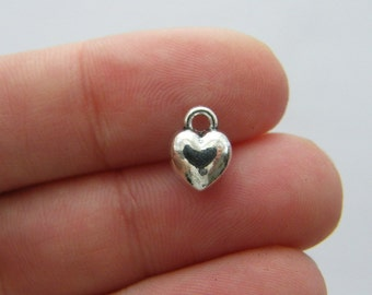 10 Heart charms antique silver tone H157