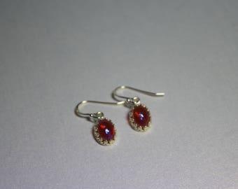 Dragons breath fire opal czech glass dangle droplet earrings set in 925 sterling silver