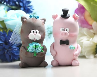 Funny Cat and Pig wedding cake toppers - kitty piggy bride groom figurines figures personalized cute custom blue pink country farm rustic