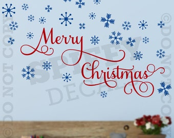 Merry Christmas Snowflakes Vinyl Wall Decal Quote Holiday Winter Decor