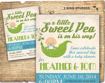 Little sweet pea baby shower invitation - sweet pea baby shower invite - coed boys baby shower or gender neutral printable invitation
