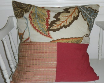 18 inch pillow cover  reds browns color block