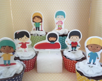 Winter Olympics Party Cupcake Topper Decorations - Set of 10
