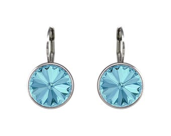 Regular Round Bella Women Aquamarine  Crystal Earrings Made with SWAROVSKI® Crystals