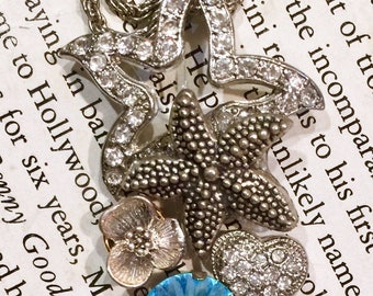 """Crystal Cluster Necklace, Beautiful Rhinestone Pendant, Swarovski Elements, Starfish, Hearts, Chatons, Flowers, Silver Rope Chain, 18"""""""