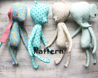 4 in 1 PATTERN for various stuffed toys stuffed animals bear bunny rabbit cat kitten elephant 14 inches DIY primitive toys