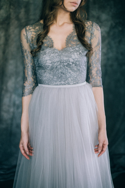 Gray Wedding dress Boho wedding dress Non-traditional