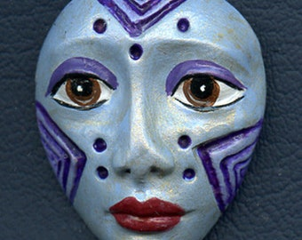 Polymer Clay One of a Kind  Spirit Doll Pale blue, purple Detailed Face Cab Un Drilled SPF 1