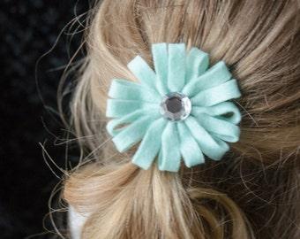 Hair Bow - Aqua Felt Daisy Style Flower Clip with Rhinestone Center