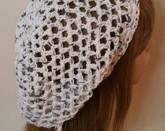 Cotton Open Stitch Slouchy Beanie in Salt and Pepper