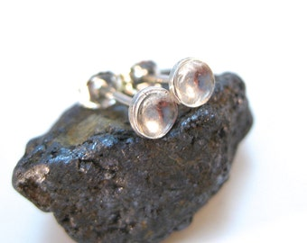Tiny Silver Stud Earrings- Silver Cup Studs, Earring Studs