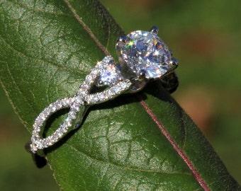 Diamond Engagement Ring SETTING semi mount- Round - Pave - Antique Style - 14K white gold - Weddings- Luxury- Brides - BeautifuPetra - Bp002
