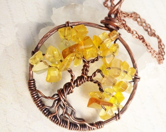 Yellow Topaz Tree of Life Necklace, Copper Wire Wrapped yellow gemstone talisman pendant, holiday birthday gift for her, mother's day gift