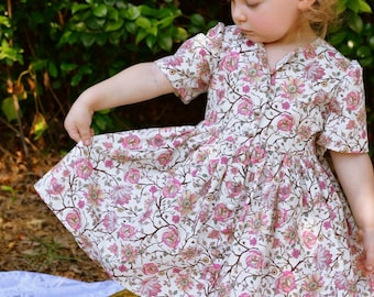 Wild Flowers Toddler Shirt Dress Handmade by Papoose Clothing