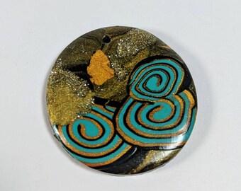 Pendentif rond, pâte polymère, Turquoise, or, bruns, fournitures de bijoux, abstrait pendentif