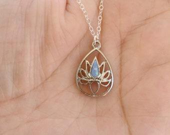 Light Blue Opal Lotus Necklace. Opal Necklace.Yoga Necklace.