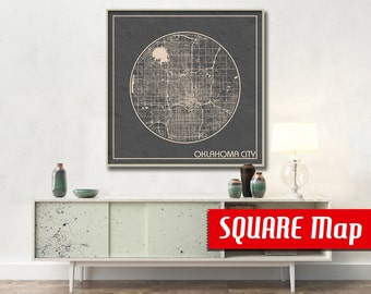 OKLAHOMA City OK SQUARE Map Oklahoma City Oklahoma Poster City Map Oklahoma City  Art Print Oklahoma City Oklahoma poster Oklahoma city map