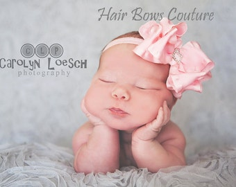 Infant Newborn Light Pink Double Ruffle Hair Bow Headband with center rhinestone comes with Thin Soft Stretch Headband