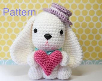 Crochet Amigurumi Cute White Puppy Bunny Doll PDF Pattern Stuffed Toy