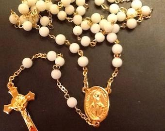 White glass rosary