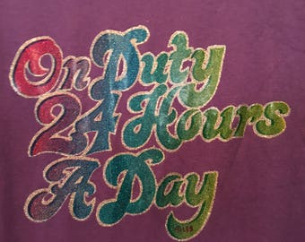 On Duty 24 Hours A Day Vintage 1980s 1990s Purple Glitter Iron On T-Shirt