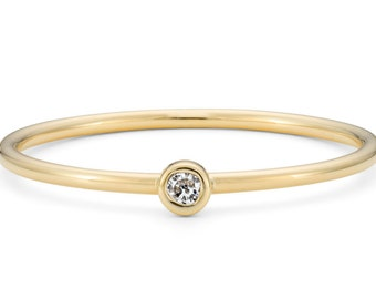 9ct Yellow Gold & Diamond, Ethical Skinny Stacking Ring