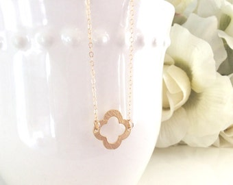 Gold Necklace, Quatrefoil Necklace, Dainty Gold Necklace, Bridesmaid Necklace, Bridesmaids Gifts, gifts for her best friend gifts Christmas