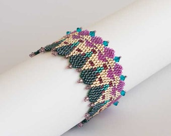 Colorful Beaded Bracelet with Triangles and Arrows, with Swarovski Crystals in Teal, Fuchsia, Green and Gold. Geometric Cuff Bracelet S-147
