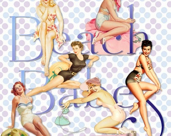 13 Pinup Girls Vintage Digital Beach Babes Transparent PNG Instant Download Retro