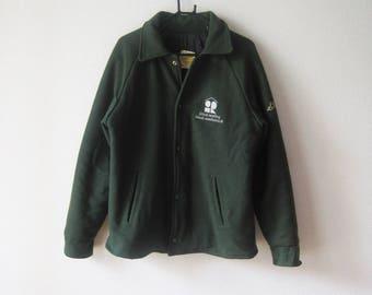 VINTAGE Minimal Oversized Warm Dark Green Coat - Size L