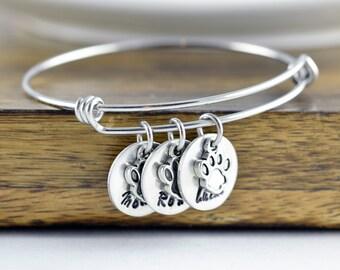 Dog Bracelet, Personalized Bangle Bracelet, Paw Print Bracelet, Pet Memorial Bracelet, Dog Lover Gift, Pet Lover Gift, Christmas Gifts