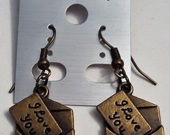 Antique Bronze Love Letter Earrings