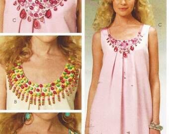 Womens Pullover Dress and Necklaces OOP McCalls Sewing Pattern M6068 Size 6 8 10 12 14 Bust 30 1/2 to 36 Uncut Summer Dress & Boho Necklaces