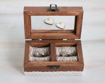 Anillo de boda de la boda personalizada caja grabado anillo portador caja boda rústica caja propuesta caja cristal anillo anillo soporte Еngagement caja
