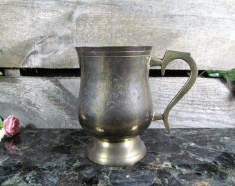 Engraved Brass Stein, Mug or Chalice, India Giftwares, Retro World Gift Accessories, Saloon & Barware, Urban Serving Decor, Drinkwares