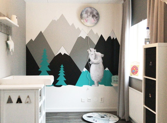 Mountains Wall Decal Woodland Baby Room Decor Nursery Wall Art Kids Toddler Corner Wall Sticker Self Adhesive Wall Protection #mountains008