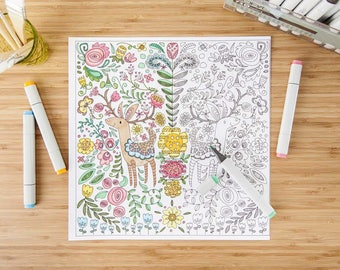 Deer Colouring Page - perfect for kids - high quality - perfect gift - * fast shipping