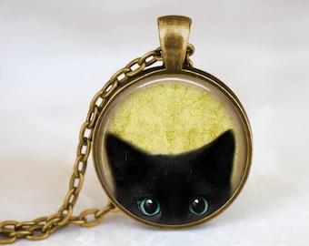 Black Cat Necklace • Peeking Cat Necklace • Cat Jewelry • Halloween Jewelry • Cat Lover Gift