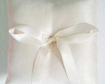 "Wedding Ring Pillow. White or Ivory Brushed Satin Ring Pillow. 5""x5"" Ring Bearer's Pillow. Traditional Ring Pillow. Ring Cushion."